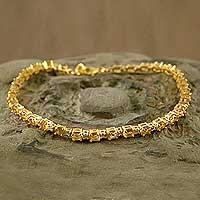Gold vermeil citrine tennis bracelet, 'Golden Twilight' (India)