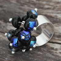 Dichroic art glass cocktail ring, 'Acapulco' - Sterling Silver Glass Bead Cluster Ring