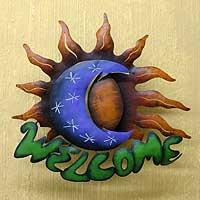 Iron welcome sign,