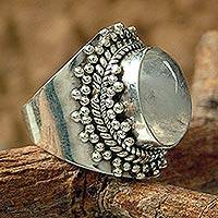 Rainbow moonstone cocktail ring, 'Radiant Moon' - Moonstone Cocktail Ring from India Sterling Silver Jewelry