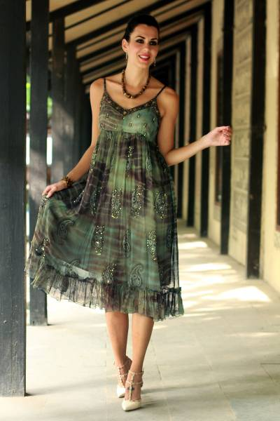 Beaded dress, 'Shibori Enchantment' - Green and Brown Shibori-Dyed Embellished Dress with Sequins