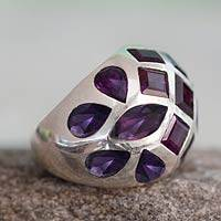 Amethyst domed ring, 'Princess of Jaipur' - Amethyst domed ring