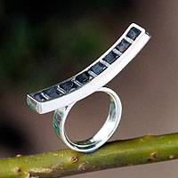 Sterling silver cocktail ring, 'Ladder to your Heart'