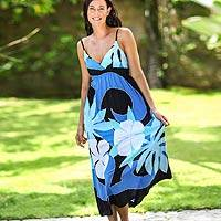 Maxi dress, 'Blue Floral Classic' - Women's Floral Painted Maxi Dress