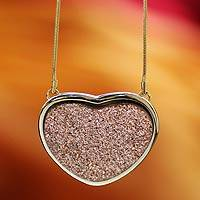 Brazilian rose drusy agate heart necklace, 'True To You' - Rose Brazilian Drusy Agate Gold Plated Necklace