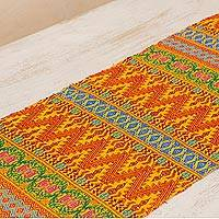 Cotton table runner, 'Golden Guatemala' - Maya Handwoven Table Runner in Yellow and Multicolor Cotton