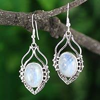 Rainbow moonstone dangle earrings, 'Passion Leaf' - Sterling Silver Rainbow Moonstone Earrings