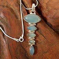 Chalcedony pendant necklace, 'India Blue' - Blue Chalcedony and Sterling Pendant Necklace