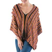 100% alpaca poncho, 'Inca Empress' - Colorful Andean Knitted 100% Baby Alpaca Poncho from Peru