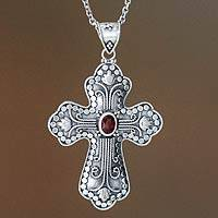 Garnet cross necklace, 'Redemption' - Garnet cross necklace