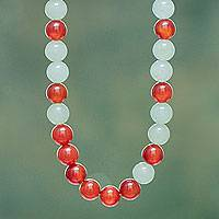 Agate and aventurine beaded necklace, 'Forest Sunset' - Fair Trade Red Agate and Aventurine Beaded Necklace