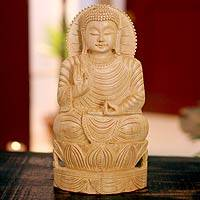 Wood statuette, 'Serene Lord Buddha' - Artisan Crafted Buddhism Wood Sculpture