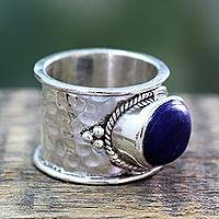 Lapis lazuli solitaire ring, 'Intuitive Blue' - Handmade Sterling Silver Single Stone Lapis Lazuli Ring