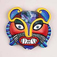 Ceramic mask, 'Rainbow Cat' - Fair Trade Ceramic Multicolor Cat Mask