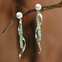 Opal dangle earrings, 'Rushing Breeze' - Opal and 950 Silver Dangle Earrings