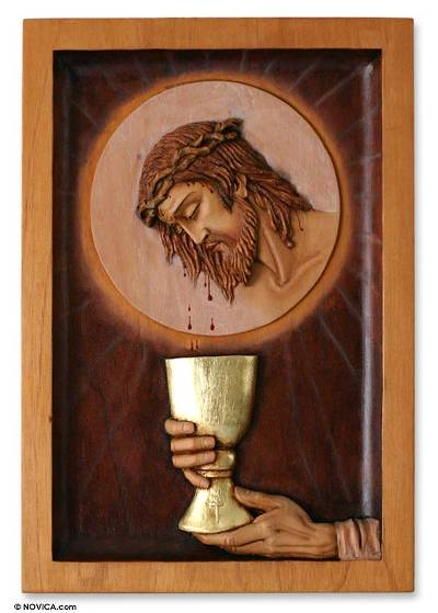 Cedar wood panel, 'Eucharist' - Cedar Jesus Religious Wall Art Relief Panel