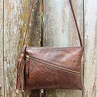 Leather shoulder bag, 'Selayar Brown' - Brown Leather Shoulder Bag with Adjustable Strap