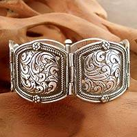 Sterling silver wristband bracelet, 'Glorious Blossom' - Fair Trade Sterling Silver Wristband Bracelet Floral Jewelry