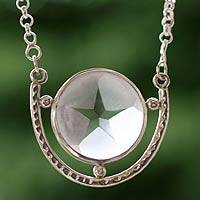 Quartz pendant necklace, 'Star of Venus' - Quartz pendant necklace