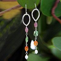 Amethyst and carnelian dangle earrings,