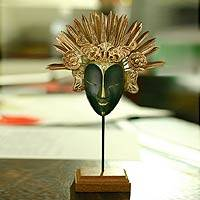 Wood and copper mask, 'Royal Dancer' - Wood and Copper Mask
