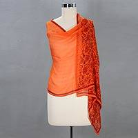 Silk shawl, 'Brindavan Ginger' - Handcrafted Silk Shawl Orange Wrap