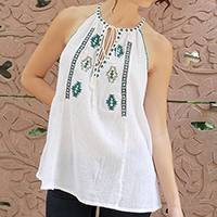Cotton top, 'Tribal Teal' - White Cotton Crinkle Cotton Sleeveless Top with Teal Trim