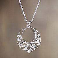 Sterling silver pendant necklace, 'Filigree Foliage' - Andean Silver Handcrafted Silver Filigree Pendant Necklace