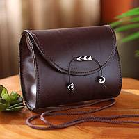 Leather shoulder bag, 'Never Without Brown' - Unique Leather Shoulder Bag from Africa