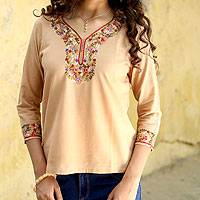 Cotton tunic, 'Desert Floral' - Handcrafted Floral Tan Cotton Tunic