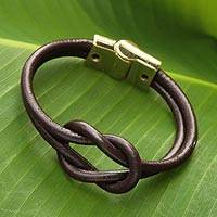 Leather wristband bracelet, 'Golden Brown Union' - Brown Leather Wristband Bracelet with Golden Magnetic Clasp