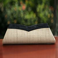 Leather and buriti palm clutch handbag, 'Copacabana' - Unique Leather and Buriti Palm Clutch Handbag