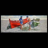'Friends on the Beach' - Impressionist Painting