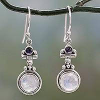 Rainbow moonstone and iolite dangle earrings,