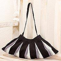 Cotton shoulder bag, 'Shadow Fan' - Cotton shoulder bag