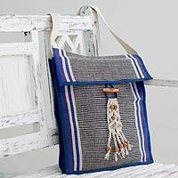 Cotton shoulder bag, 'Illusion' - Lined Hand-woven Cotton Shoulder Bag from India