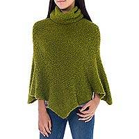 Alpaca blend boucle poncho, 'Cuzco Green' - Warm Turtleneck Green Boucle Poncho in Soft Alpaca Wool
