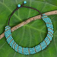 Beaded choker, Blue Thai Smile - Hand Crafted Beaded Choker with Brass and Blue Calcite