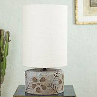 Ceramic table lamp, 'Floral Imprints' - Handmade Ceramic Table Lamp with Cotton Shade