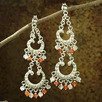 Carnelian and rainbow moonstone chandelier earrings,