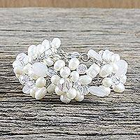 Pearl and quartz beaded bracelet, 'Bridal Bouquet' - Handcrafted Bridal Quartz and Pearl Bracelet