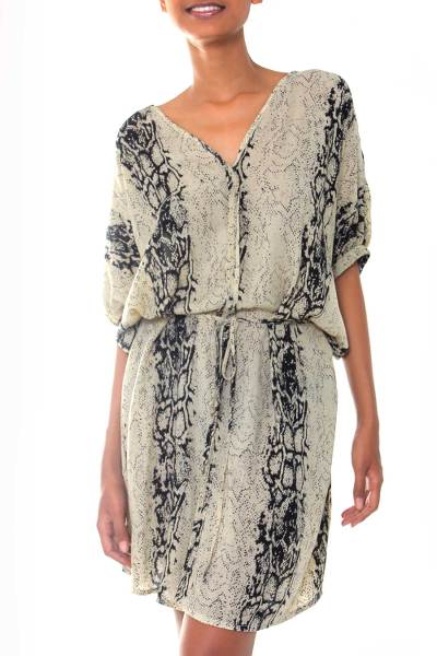 Rayon dress, 'Serpent Lady' - Black and Ivory Hand Stamped Snakeskin Motif Rayon Dress