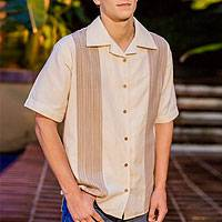 Men's cotton shirt, 'Maya Paths' - Handwoven Natural Cotton Men's Shirt from Guatemala