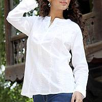 Cotton tunic, 'White Crocus' - Long Sleeve Button White Cotton Tunic with Hand Embroidery