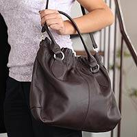 Leather hobo handbag, 'Caramel Karma' - Leather hobo handbag