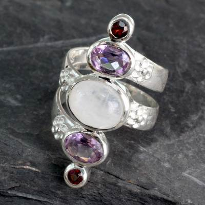 Multi-gemstone cocktail ring, 'Spiral Enchantment' - Silver Moonstone Artisan Ring with Amethyst and Garnet