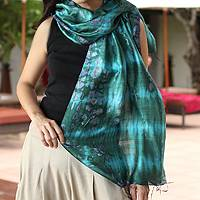 Silk scarf, 'Emerald Illusion' - Tie Dyed Blue and Green Thai Silk Scarf