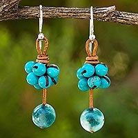 Calcite and quartz dangle earrings,