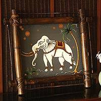 'Lucky Elephant' - Framed Thai Folk Art Painting