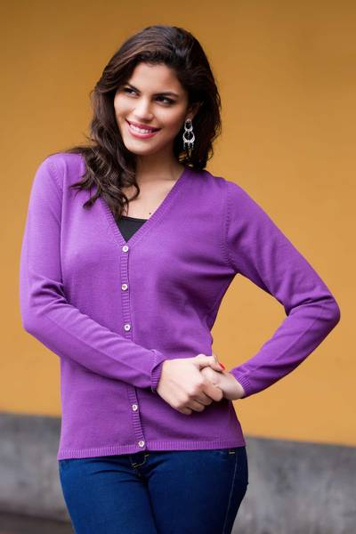 100% cotton cardigan, 'Glorious Grape' - Women's Lightweight Purple Cotton Knit Cardigan from Peru